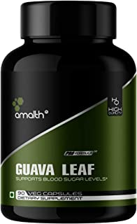 Amalth Guava Leaf Dried Extract Capsules 5000mg Potency, 90 Count - Blood Sugar Control, Glucose Metabolism, Diabetes Supp...