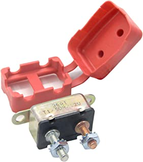 RKURCK 12V 50A Circuit Breaker Automatic Reset for Automotive RV Marine Boat with Protective Red Boot Cover