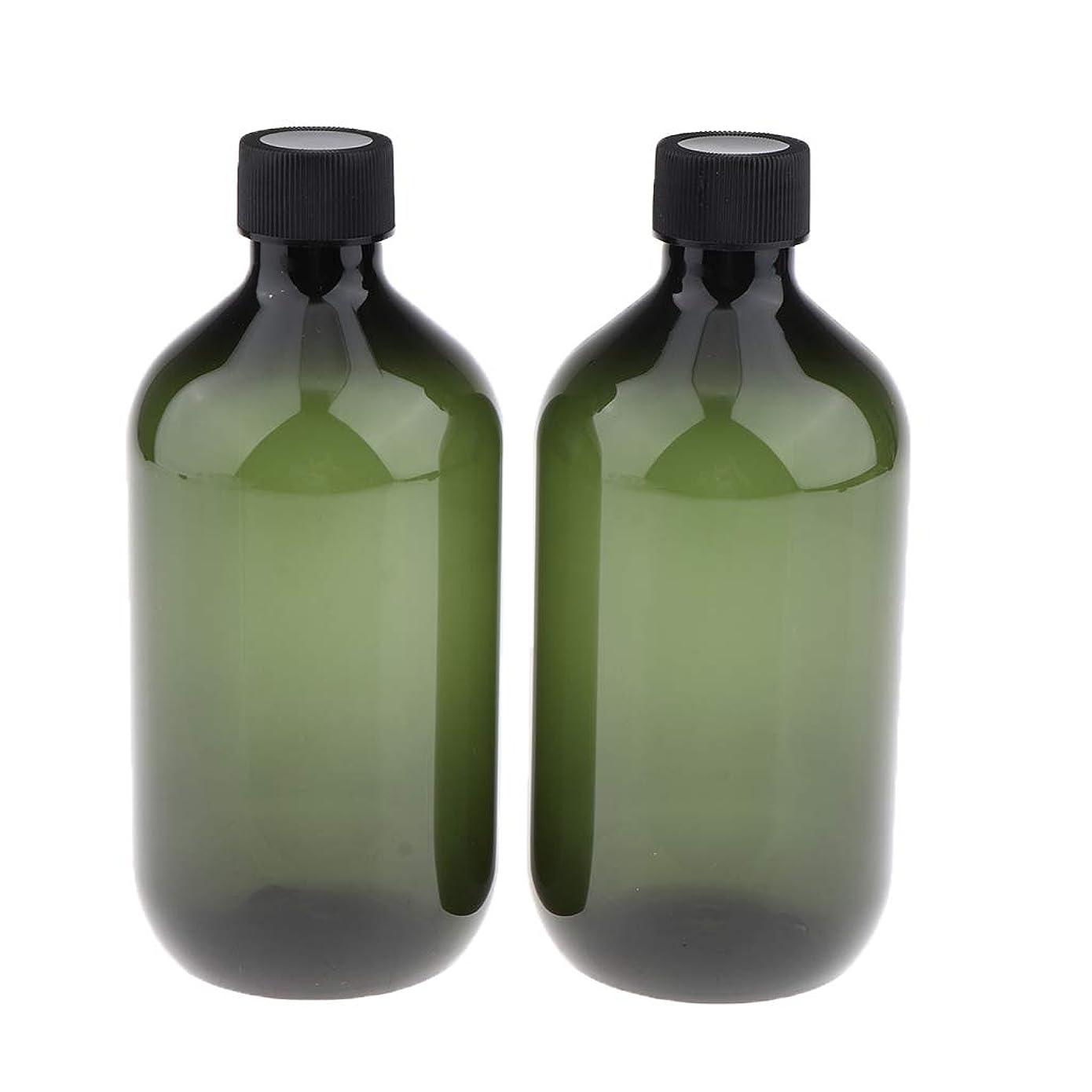 パケットケーキレキシコンP Prettyia ディスペンサー 空ボトル 遮光瓶 PPプラスチック 大容量 洗剤用 500ミリリットル 全2色 - ピクルスグリーン