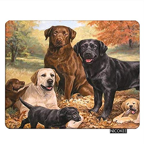 NICOKEE Rectangle Dog Gaming Mousepad Lovely Labrador Retriever Dog Art Cute Dogs Mouse Pad Mouse Mat for Computer Desk Laptop Office 9.5 X 7.9 Inch Non-Slip Rubber