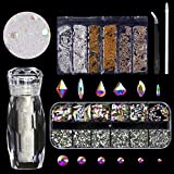 120 Pcs Glass Crystal AB Rhinestones For Nail Art Craft(120+1656pcs),Micro Nail Pixie Beads 1...