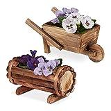 Relaxdays Pflanzengefäß Holz, 2 Stück, Pflanzschubkarre & halbes Blumenfass, Gartendeko, zum Bepflanzen, rustikal, Natur