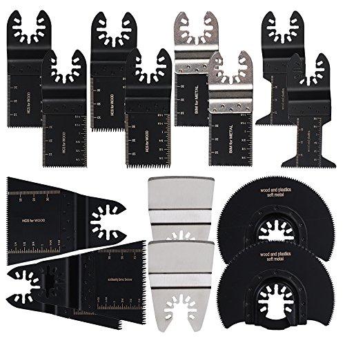 Oxoxo 15PCS oscillanti lame, legno/soft-metal Quick Release oscillante lame set per Black & Decker, Bosch, artigiano, Chicago, Cougar, DeWalt, Dremel, motore