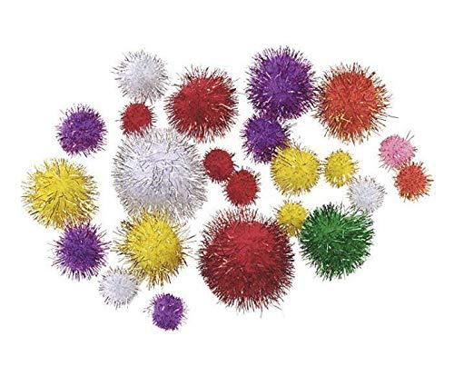 Pompon Shimmering Mix Colors 8-20mm (25pcs), Bedroom Decor, Ball Pom, Ball Garland, Ball Decor, Bag Charm, Knorr Prandell, Creativity School