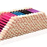 Eyeshadow Applicators,MORGLES 200PCS Disposable Dual Sides Eye Shadow Sponge Applicators Disposable Eyeshadow Applicator Brushes Tipped Oval Makeup Tool-Multicolor
