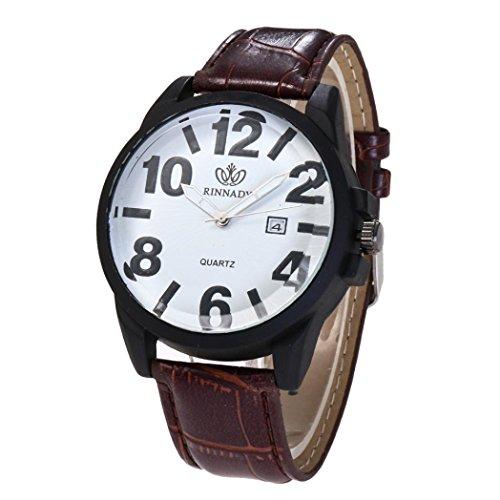 Elegant herenhorloge, Zarupeng mode ronde riem leren band analoog kwarts horloges/lederen kwartshorloge met roestvrij stalen wijzerplaat en kunstleren armband