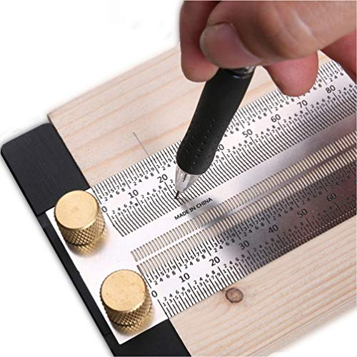 Regla de metal para carpintería de 30 cm para corte, escala de marcado de calibre con regla de línea de escriba, con tope