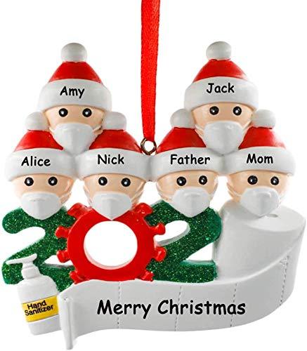 YiMoo Weihnachtsbaumschmuck, 2020 Quarantäne Survivor Familie, personalisiertes Weihnachtsdekorationsset, kreatives Geschenk (A: 6 Mitglieder)