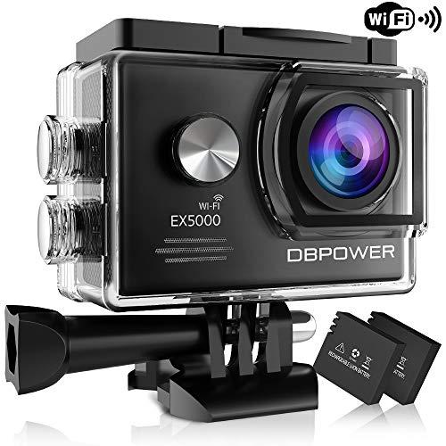 DBPOWER® EX5000 Originale Versione WiFi 14MP FHD Sport Action Camera Impermeabile con 2 batterie e Kit Accessory Inclusi (Nero)