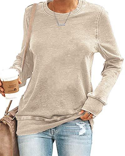 SENSERISE Womens Casual Crewneck Sweatshirt Long Sleeve Solid Color Shirt Soft Lightweight Loose Tops(Solid Beige, M)