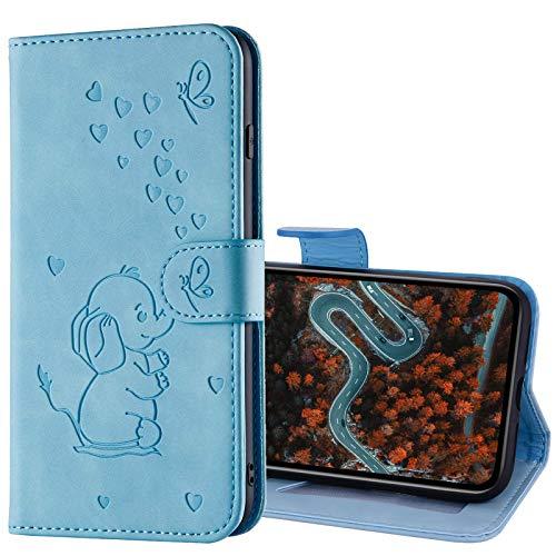 GrandoinChoice Kompatibel mit iPod Touch 7 / Touch 6/5 Hülle, Handytasche PU Leder Etui Flip Cover Geprägter Niedlich Elefant Muster Book Case Schutzhülle mit [Magnetverschluss] Etui Case (Blau)