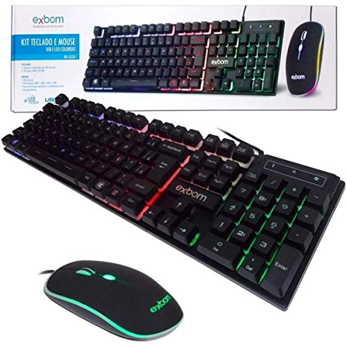 KIT TECLADO MOUSE GAMER COMPUTADOR USB ABNT2 LED PRETO BK-G550