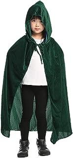 Kids Hooded Velvet Cloak Cape for Christmas Halloween Role Play Cosplay Costume
