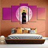 CJJCILEF Lienzo Impreso HD 5 Panel Faro Artístico Estado de ánimo festivo 150x80cm Frameless