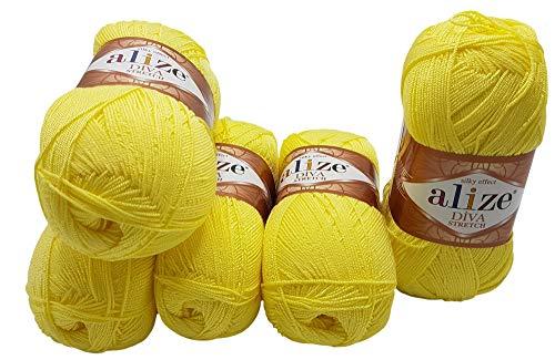 Diva Stretch 5 x 100 Gramm Wolle, 500 Gramm Strickwolle mit Elasthan (gelb 643)