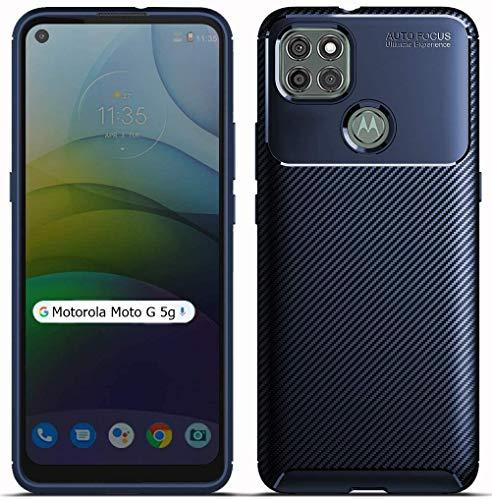 """Capa Capinha Anti Impacto Para Motorola Moto G 5g com Tela de 6.7"""" polegadas - Case Com Desenho Fibra De Carbono Shock Queda - Danet (Azul)"""