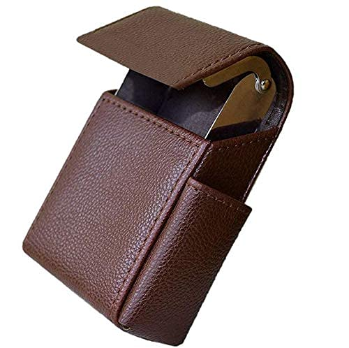 Cigarette case Brown Faux Leather Cigarette & Lighter Case Holder Brown Colour