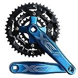GANOPPER 9S 9speed 223244T 170mm Crank Length MTB Mountain Bike Chainset 104BCD 64BCD Easy to Modify Single Crank Set (Blue)