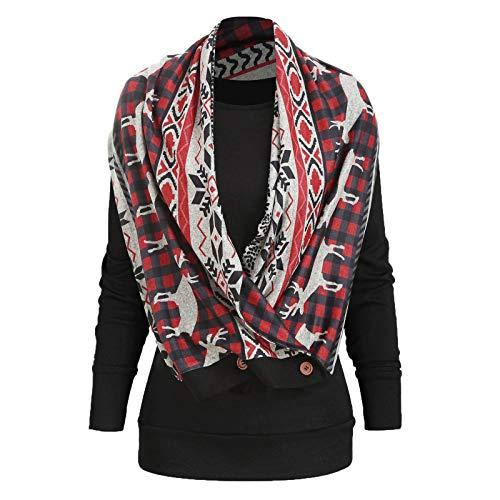 KEERADS Damen Pullover Asymmetrische Dreieckstuch Rollkragen mit Kontrastfarbe Lässig Kariert Langarm Jumper Winterpullover Sweatshirt fur Frauen