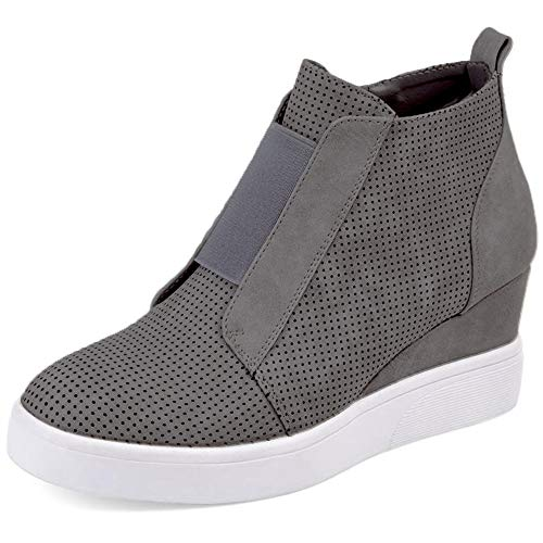 XMWEALTHY Women's Wedges Sneakers Heel Comfy Perforated Wedgie High Heel Shoes Casual Fashion Sneakers Grey 8.5