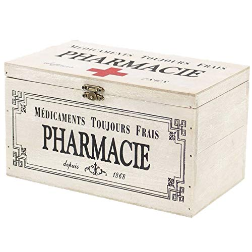 SIDCO Medizinkasten Erste Hilfe Hausapotheke Medikamenten Holzbox Aufbewahrung Deko