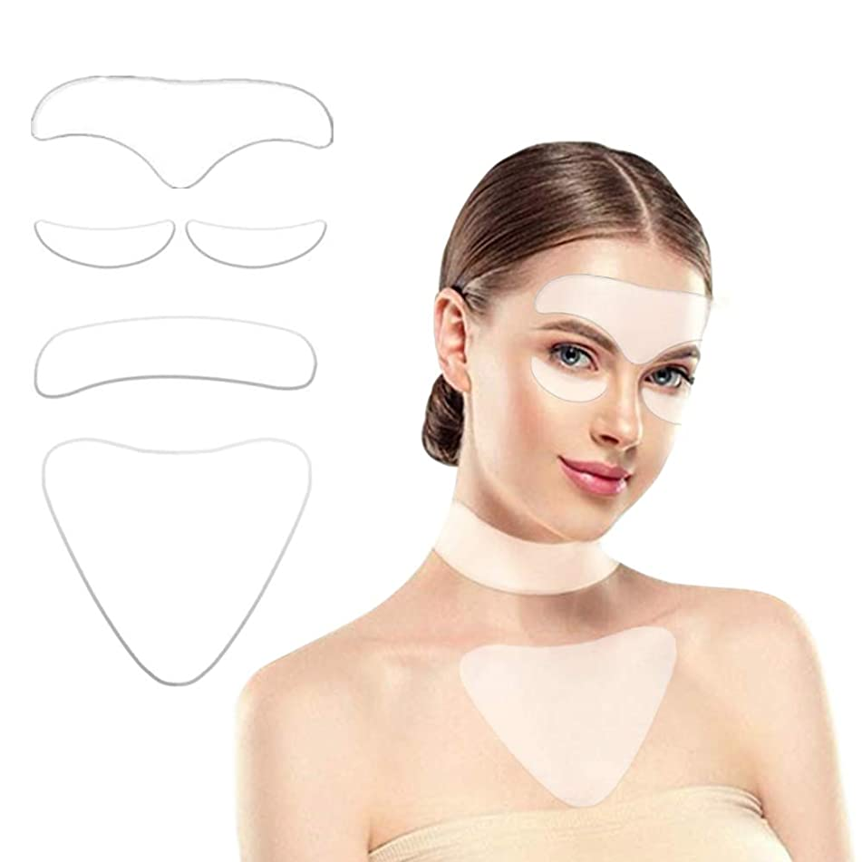 5Pack Silicon Wrinkle Pads - including 2 Piece Eye Wrinkle Flattening Patches,1 Piece Silicone Anti Wrinkle Chest Pads,1 Piece Forehead Pads and 1 Piece Neck Pads for Eliminate and Prevent Wrinkles