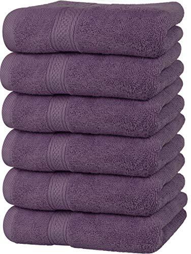 Utopia Towels - Toallas de Mano Grandes de algodón multipropósito para baño, Manos, Cara, Gimnasio y SPA - Dimensiones 41 cm x 71 cm - Paquete de 6 (Ciruela)