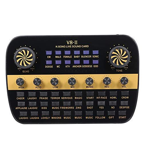 Muslady V8 Tarjeta de Sonido en Vivo Actualizada Volumen Inteligente Mezclador de Audio Ajustable para Computadora PC