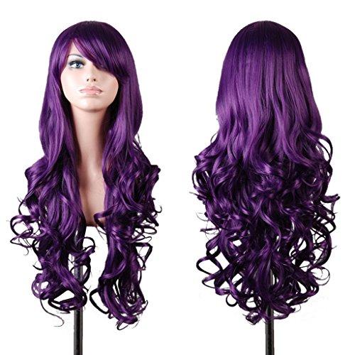 Wigs EmaxDesign 80 cm di alta qualità, dicono le donne s-Parrucca lunga riccia, resistente al calore a onde-Parrucca Glamour-Parrucca e cappello con parrucca e pettine, colore: viola scuro