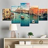 WSHIYI Arte de la Pared Pinturas en Lienzo Imprimir 5 Piezas Imágenes Venecia Ciudad del Agua Barco Luz Paisaje Decoración Moderna para el hogar Carteles 30x40cmx2 30x60cmx2 30x80cm Sin Marco