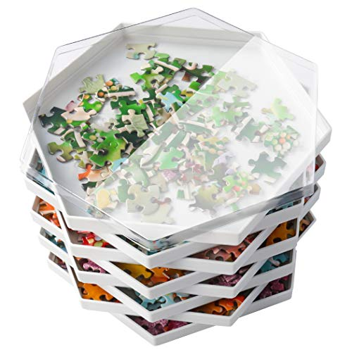 Becko Stackable Puzzle Sorting Trays Jigsaw Puzzle Sorters with Lid Puzzle Accessory for Puzzles Up to 1500 Pieces, 8 Hexagonal Trays (White)