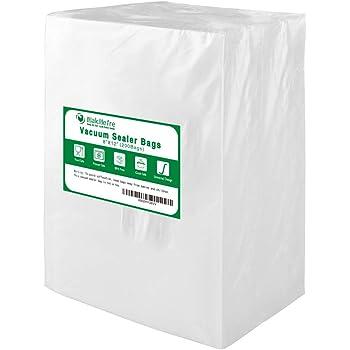 Sin BPA. Bolsas selladoras de alimentos de grado comercial Bolsas selladoras al vac/ío Nutri-Lock 100 bolsas de 8 x 12 pulgadas Funciona con FoodSaver y Sous Vide