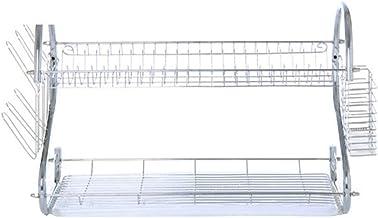 Yardwe 2-Tier schotel Cup droogrek keuken Tool afdruiprek RVS droger lade schotel houder organisator voor Home Restaurant...