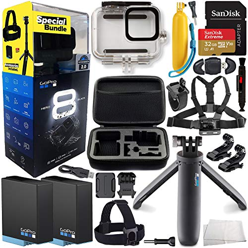 GoPro HERO8 (Hero 8) Action Camera (Black) 2019 Bundle & Additional Accessories - Includes: Extreme 32GB microSD, 2X Rechargeable Battery, Shorty, Head Strap, Underwater Housing, Carrying Case & More