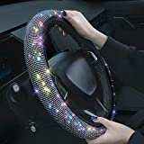 Shering Bling Rhinestones Steering Wheel Cover with Crystal Diamond Sparkling Car SUV Breathable Anti-Slip Steering Wheel Protector for Women ,Party,Birthday Gift((Fit 14.2'-15.3' Inch))