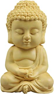 仏像 仏像木彫り TheChanger 如来 手作り ミニ 木置物 釈迦 柘植の木 木目 仏壇用のご本尊仏像 高さ6.8cm