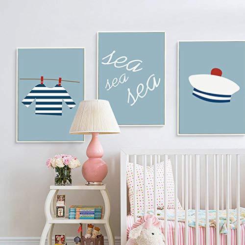 NOBRAND Simple y Encantador Marinero artículos de Dibujos Animados Lienzo Arte Pintura impresión Cartel Imagen Pared bebé niños habitación decoración murales sin marco-30x40cmx3