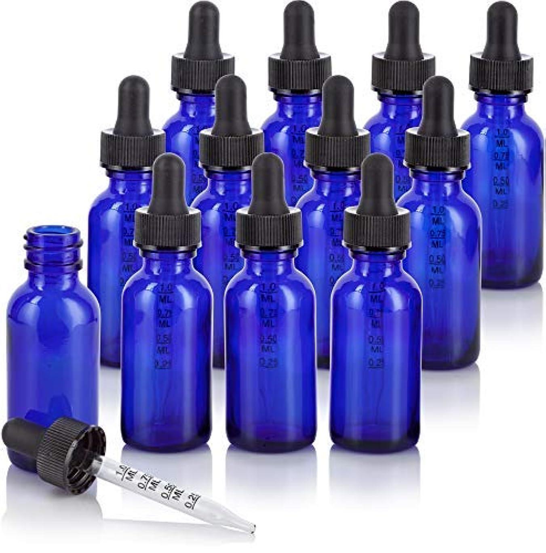 案件酔っ払いバックグラウンド1 oz Cobalt Blue Glass Boston Round Graduated Measurement Glass Dropper Bottle (12 pack) + Funnel for essential oils, aromatherapy, e-liquid, food grade, bpa free [並行輸入品]