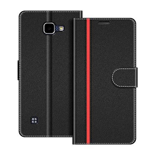 COODIO Handyhülle für LG K4 2016 Handy Hülle, LG K4 2016 Hülle Leder Handytasche für LG K4 2016 Klapphülle Tasche, Schwarz/Rot