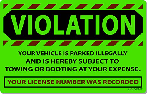 """50 Green Fluorescent Violation Illegally Parked Tow Towing Auto Car Sign Stickers 8"""" X 5"""""""