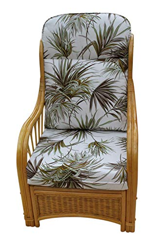 Garden Market Place Sorrento Conservatory Furniture-Single Chair-'Palm' Design Fabric-Natural Colour Cane, 119 X 80 X99