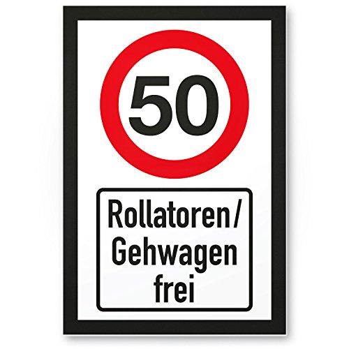 DankeDir! 50 Jahre Rollatoren/Gehwagen frei, Kunststoff Schild - Geschenk 50. Geburtstag, Geschenkidee Geburtstagsgeschenk Fünzigsten, Geburtstagsdeko/Partydeko/Party Zubehör/Geburtstagskarte
