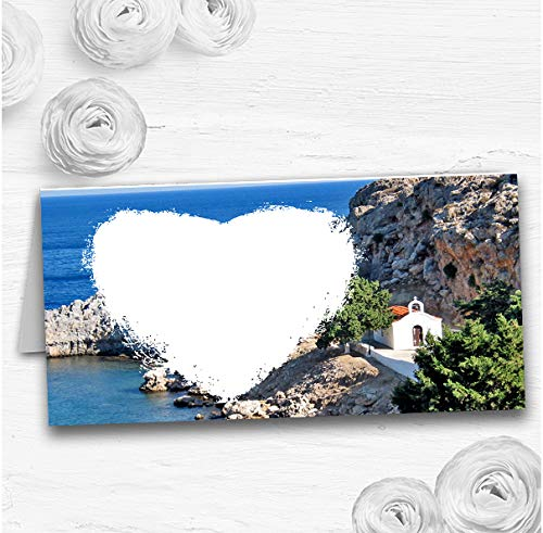 Hart St Pauls Lindos Rhodos Bruiloft Tafel Zitplaats Kaarten 150 Place Cards