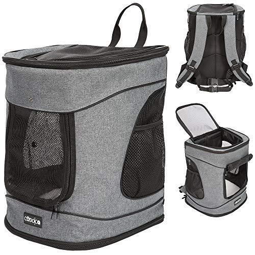 Cadoca Hunderucksack Haustiertragetasche Hund Katze Tasche Rucksack Tier I hoher I Kurzleine I verstellbare Gurte
