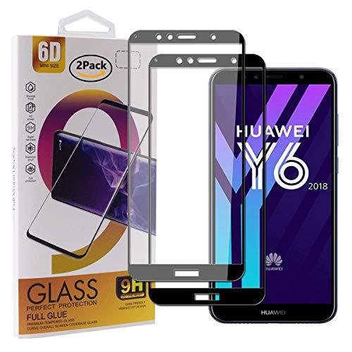 Guran [2 Stück Gehärtetes Glas Bildschirmschutzfolie für Huawei Y6 2018 / Honor 7A / Honor 7A Pro Smartphone Full Coverage HD Panzerglasfolie - Schwarz