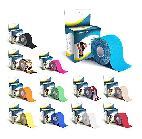 KG Physio Kinesiologie Tape 5cm x 5m Rolle ungeschnittenes Physio Tape - Bei den Bildern handelt es Sich um exakte Produktfotos für eine genaue Farbdarstellung (Hellblau)