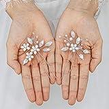 Handcess Braut Hochzeit Kristall Haarnadel Blume Silber Strass Braut Haarschmuck Perle Kopfschmuck für Braut und Brautjungfern (2 Stück)