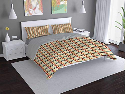 Geometric Comfort Luxurious Softest Premium Bed Sheet Set Colorful-Lines-Shapes Anti-wrinkle and anti-fading (Queen)