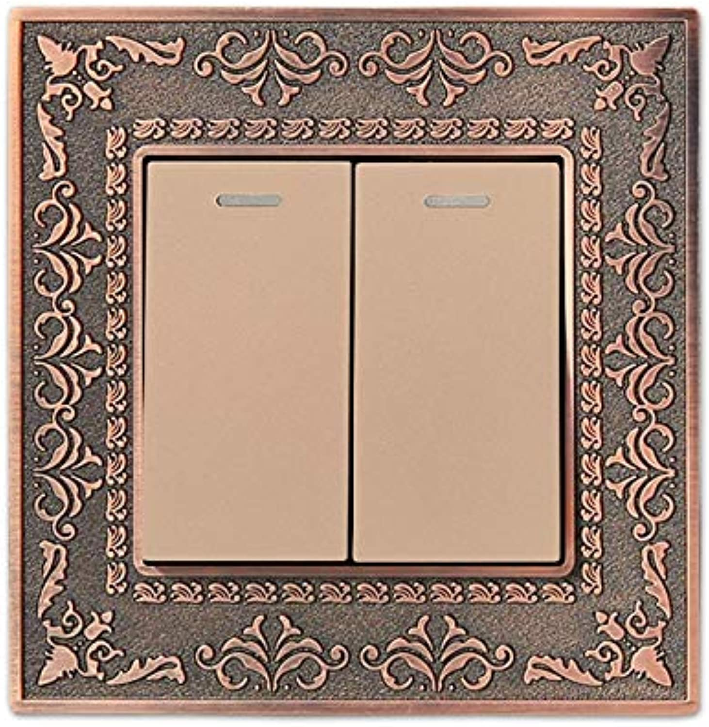 Wall Switch 2 Gang 1 Way, 86 Antique Copper Carved Zinc Alloy Switch Panel, 10A AC110250V