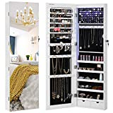 SONGMICS 47.2' H Full Screen Mirrored Jewelry Cabinet Armoire, 6 LEDs Jewelry Organizer Wall Hanging/Door Mounted, Larger Capacity, Pure White UJJC99WT